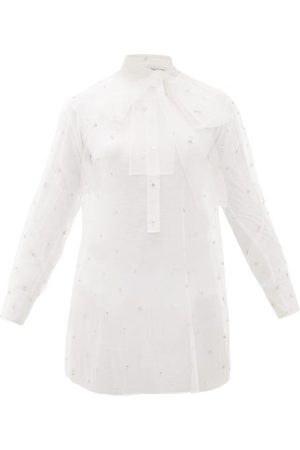 VALENTINO Pussy-bow Crystal-embellished Tulle Blouse - Womens