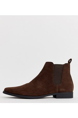 ASOS Wide Fit chelsea boots in faux suede