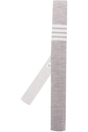 Thom Browne Men Bow Ties - 4-bar Wool Knit Tie - Grey