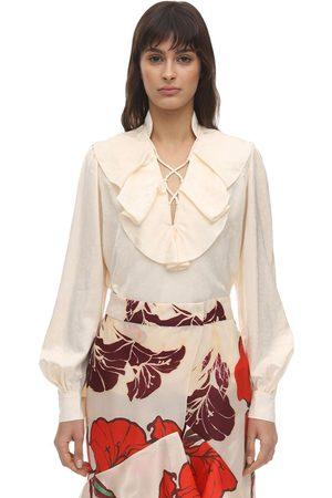 JOHANNA ORTIZ Ruffled Satin Jacquard Shirt