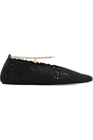 Stella McCartney 10mm Ankle Strap Cotton Ballerinas