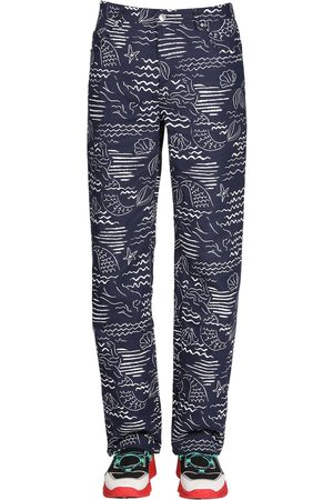Kenzo Allover Marina Print Cotton Blend Jeans