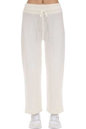 Agnona High Waist Cashmere Blend Wide Leg Pants