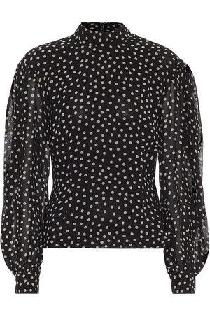 Ganni Polka-dot crêpe blouse