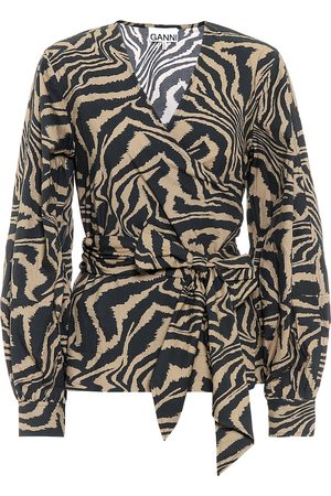 Ganni Zebra-print cotton-poplin top