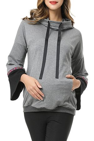 Kimi and Kai Women's Layla Cowl Neck Maternity/nursing Hoodie