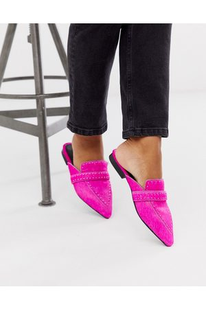 ASOS Maximum studded leather pointed mule in neon