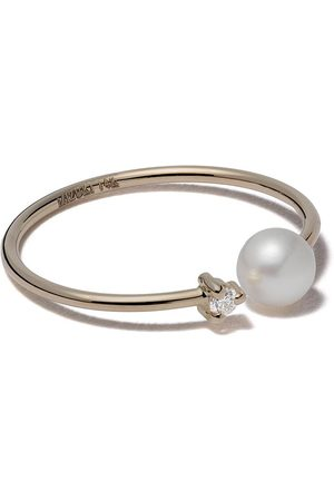 Mizuki 14kt yellow pearl and diamond open ring