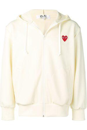 Comme des Garçons Heart patch zip-up hoodie - Neutrals