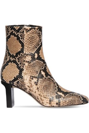 Aeyde 75mm Billy Snake Print Leather Boots