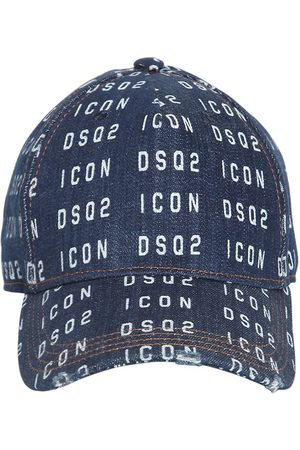 Dsquared2 Allover Logo Print Denim Baseball Cap