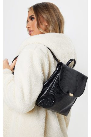 PRETTYLITTLETHING Patent Croc PU Large Backpack