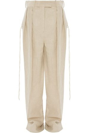 J.W.Anderson Double pleats flared trousers - Neutrals