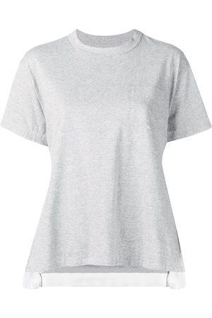 SACAI Women T-shirts - Side pleats T-shirt - Grey