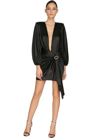 ALEXANDRE VAUTHIER Embellished Stretch Satin Mini Dress