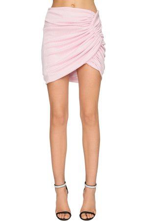 ALEXANDRE VAUTHIER Draped Rib Jersey Lamé Skirt