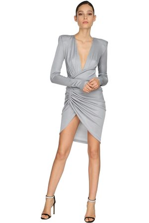 ALEXANDRE VAUTHIER Draped Rib Jersey Lamé Mini Dress
