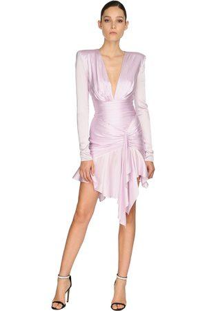 ALEXANDRE VAUTHIER Draped Stretch Satin Dress