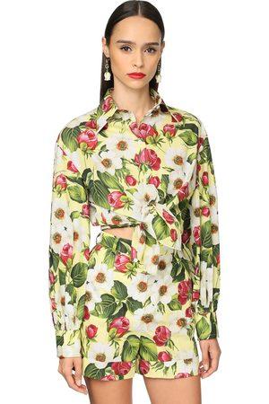 Dolce & Gabbana Flower Print Cotton Poplin Classic Shirt