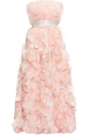 Dolce & Gabbana Women Evening dresses - Crystal-embellished Feather-trimmed Silk Gown - Womens - Light