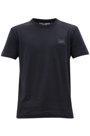Dolce & Gabbana Logo-patch Cotton T-shirt - Mens - Navy