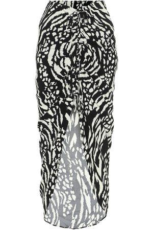 VERONICA BEARD Ari asymmetric printed crêpe skirt