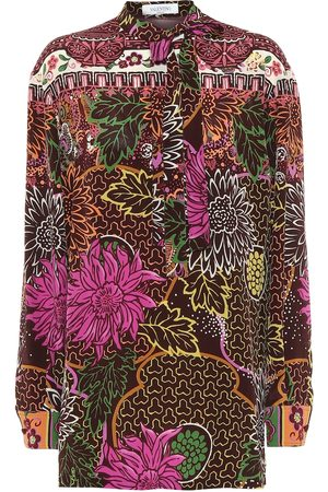 VALENTINO Printed silk-crêpe blouse
