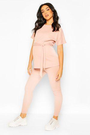 Boohoo Womens Maternity Tie Legging Loungewear Set - - 4
