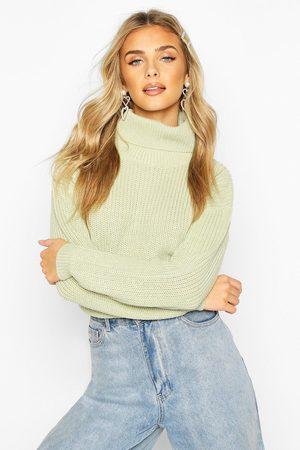 Boohoo Womens Cropped Fisherman Turtleneck Sweater - - S