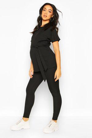 Boohoo Womens Maternity Batwing Tie Waist Legging Lounge Set - - 4