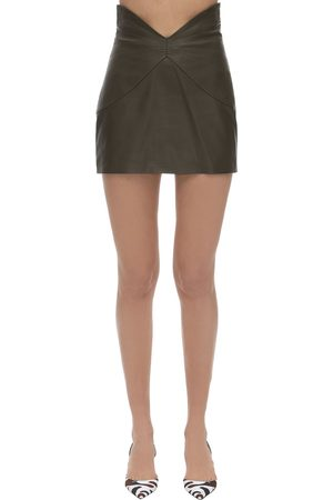 The Attico Butterfly Leather Mini Skirt