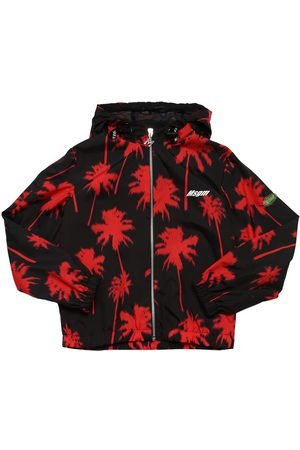 Msgm Printed Nylon Hooded Zip Jacket