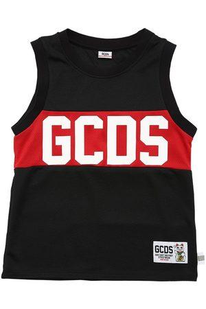 GCDS Logo Print Mesh Tank Top