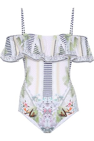 Camilla Printed off-the-shoulder swimsuit