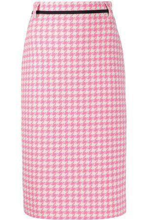 Msgm Women Printed Skirts - Houndstooth print pencil skirt