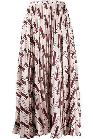 VALENTINO V-print pleated skirt