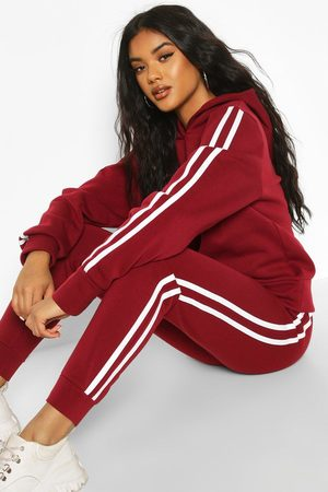 Boohoo Womens Hooded Fleece Side Stripe Tracksuit - - 4