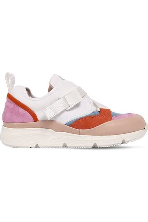 Chloé Cotton Canvas & Suede Sneakers