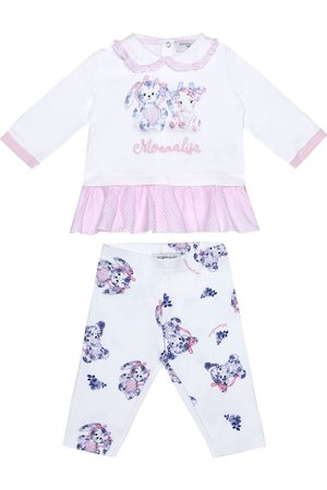 MONNALISA Baby cotton top and leggings set
