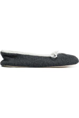 N.PEAL Bow tie slippers - Grey