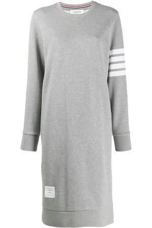 Thom Browne 4-bar Below Knee Sweater Dress - Grey