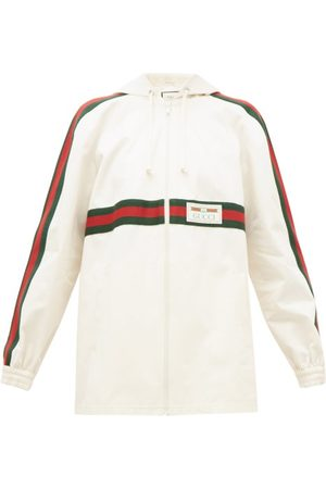 Gucci Women Jackets - Web-striped Back-pleat Cotton Jacket - Womens - Ivory Multi