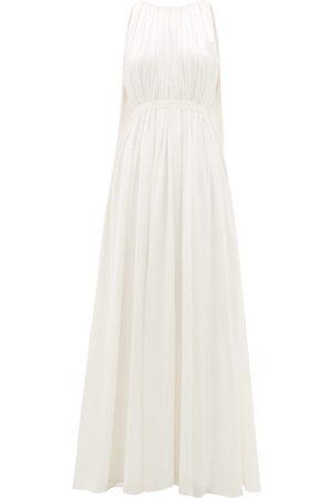 Roksanda Aurelie Cape-back Silk-satin Gown - Womens - Ivory
