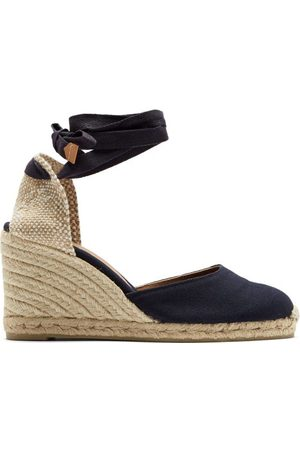 Castaner Women Sandals - Carina 80 Canvas & Jute Espadrille Wedges - Womens - Navy
