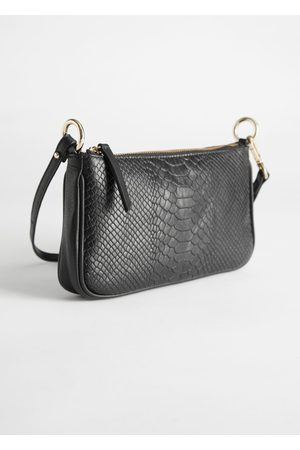 & OTHER STORIES Croc Embossed Leather Baguette Bag