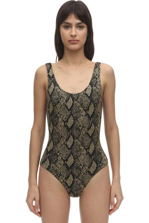 Solid Ann Marie Snake Print One Piece Swimsuit