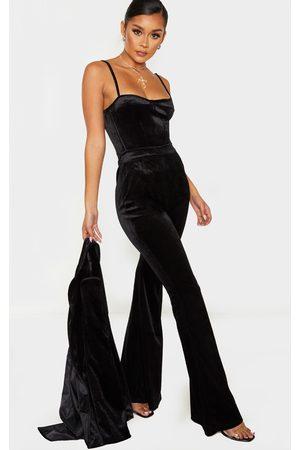 PRETTYLITTLETHING Velvet Tailored Extreme Flared Pants