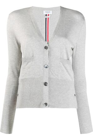 Thom Browne Women Cardigans - RWB-stripe cardigan - Grey