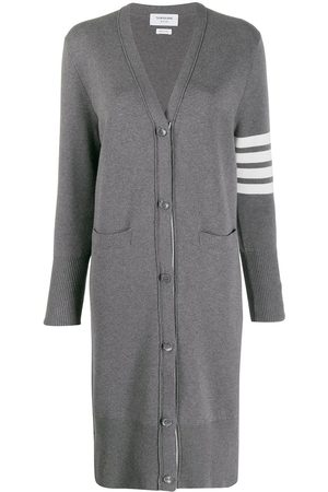 Thom Browne 4-Bar stripe cardi-coat - Grey