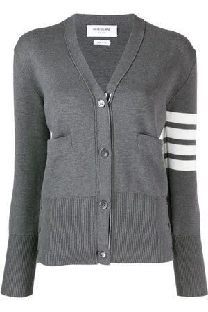 Thom Browne 4-Bar crepe V-neck cardigan - Grey